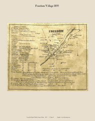 Freedom Village, Maine 1859 Old Town Map Custom Print - Waldo Co.