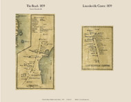 The Beach & Lincolnville Center, Maine 1859 Old Town Map Custom Print - Waldo Co.