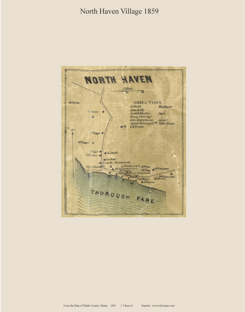 North Haven Village Maine 1859 Old Town Map Custom Print Waldo Co