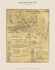 Branch Mills Village - Palermo, Maine 1859 Old Town Map Custom Print - Waldo Co.