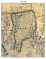 Addison, Maine 1861 Old Town Map Custom Print - Washington Co.
