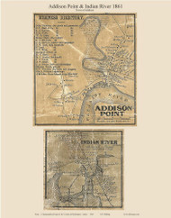 Addison Point & Indian River, Maine 1861 Old Town Map Custom Print - Washington Co.