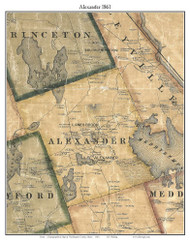 Alexander, Maine 1861 Old Town Map Custom Print - Washington Co.
