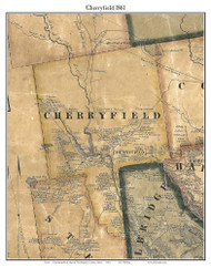 Cherryfield, Maine 1861 Old Town Map Custom Print - Washington Co.