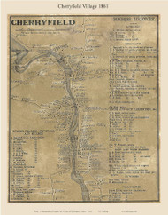 Cherryfield Village, Maine 1861 Old Town Map Custom Print - Washington Co.
