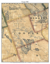 Cooper, Maine 1861 Old Town Map Custom Print - Washington Co.