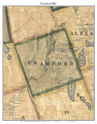 Crawford, Maine 1861 Old Town Map Custom Print - Washington Co.