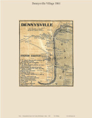 Dennysville Village, Maine 1861 Old Town Map Custom Print - Washington Co.