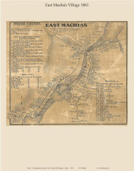 East Machias Village, Maine 1861 Old Town Map Custom Print - Washington Co.