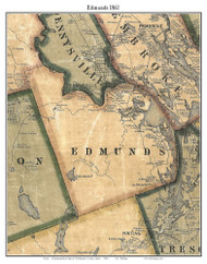 Edmunds, Maine 1861 Old Town Map Custom Print - Washington Co.