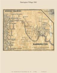 Harrington Village, Maine 1861 Old Town Map Custom Print - Washington Co.