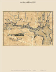 Jonesboro Village, Maine 1861 Old Town Map Custom Print - Washington Co.