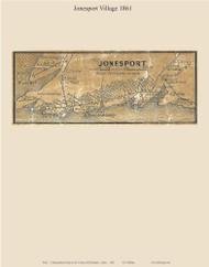 Jonesport Village, Maine 1861 Old Town Map Custom Print - Washington Co.