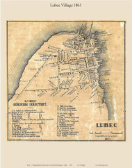 Lubec Village, Maine 1861 Old Town Map Custom Print - Washington Co.
