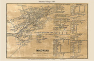 Machias Village, Maine 1861 Old Town Map Custom Print - Washington Co.