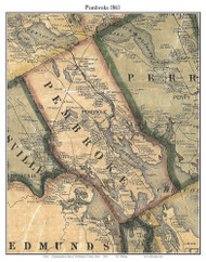 Pembroke, Maine 1861 Old Town Map Custom Print - Washington Co.
