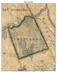 Princeton, Maine 1861 Old Town Map Custom Print - Washington Co.