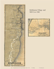 Robbinston Village & Mill Cove, Maine 1861 Old Town Map Custom Print - Washington Co.