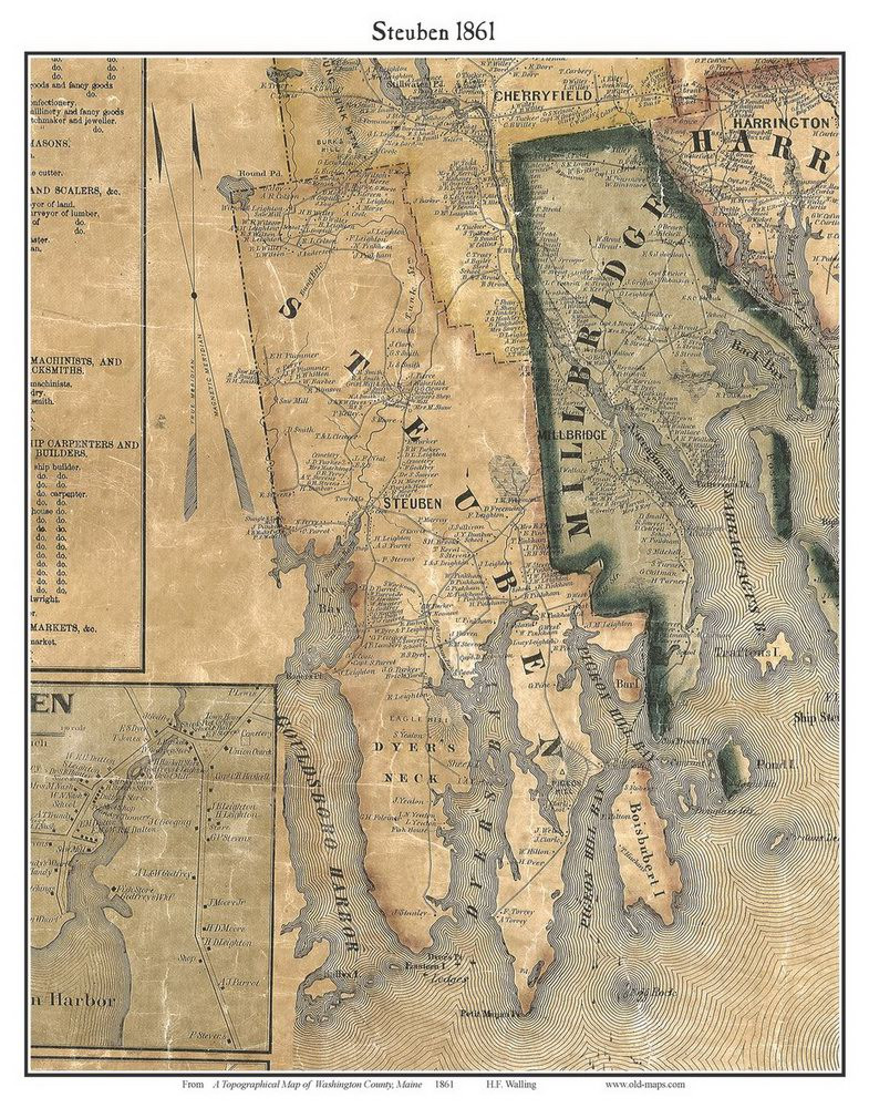 Steuben Maine Map.Steuben Maine 1861 Old Town Map Custom Print Washington Co Old