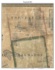 Topsfield, Maine 1861 Old Town Map Custom Print - Washington Co.