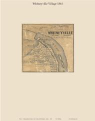 Whitneyville Village, Maine 1861 Old Town Map Custom Print - Washington Co.