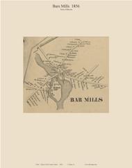 Bar Mills, Maine 1856 Old Town Map Custom Print - York Co.