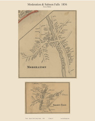 Moderation & Salmon Falls, Maine 1856 Old Town Map Custom Print - York Co.