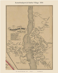 Kennebunkport & Harbor Village, Maine 1856 Old Town Map Custom Print - York Co.