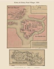 Kittery Village & Kittery Point Village, Maine 1856 Old Town Map Custom Print - York Co.