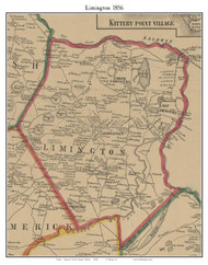 Limington, Maine 1856 Old Town Map Custom Print - York Co.