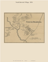 North Berwick Village, Maine 1856 Old Town Map Custom Print - York Co.