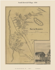 South Berwick Village, Maine 1856 Old Town Map Custom Print - York Co.