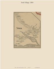 York Village, Maine 1856 Old Town Map Custom Print - York Co.