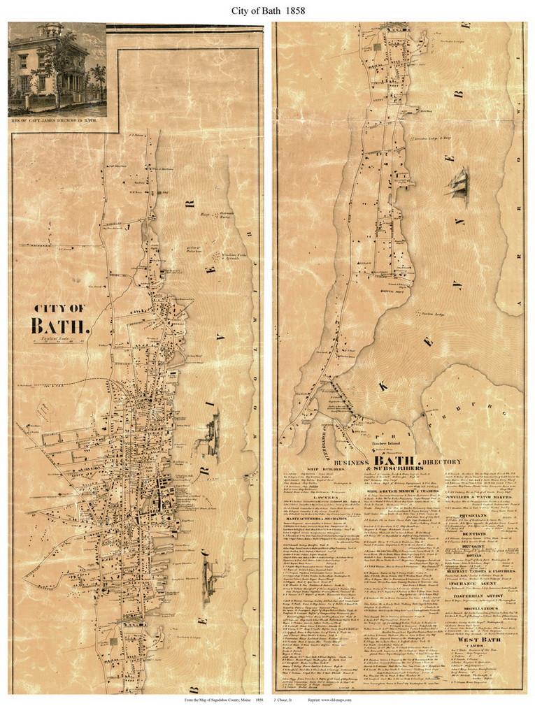 map of bath maine City Of Bath Maine 1858 Old Town Map Custom Print Sagadahoc Co map of bath maine