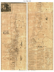 City of Bath, Maine 1858 Old Town Map Custom Print - Sagadahoc Co.