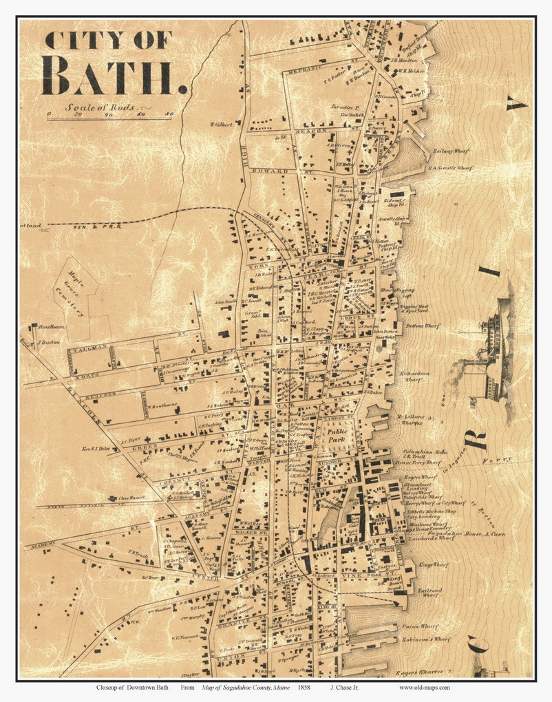 City of Bath - Downtown, Maine 1858 Old Town Map Custom Print - Sagadahoc Map Of Area Around Bath Maine on map of cambridge maine, map of indian island maine, map of maine coast, map of mechanic falls maine, map of small point maine, map of alna maine, map of chesterfield maine, map of steep falls maine, map of franklin maine, map of merrymeeting bay maine, map of dover-foxcroft maine, map of tremont maine, map of maine cities, map of campobello island maine, map of edgecomb maine, map of isle au haut maine, map of center lovell maine, map of kennebec river maine, map of gloucester maine, map of east millinocket maine,