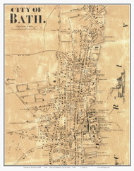 City of Bath - Downtown, Maine 1858 Old Town Map Custom Print - Sagadahoc Co.