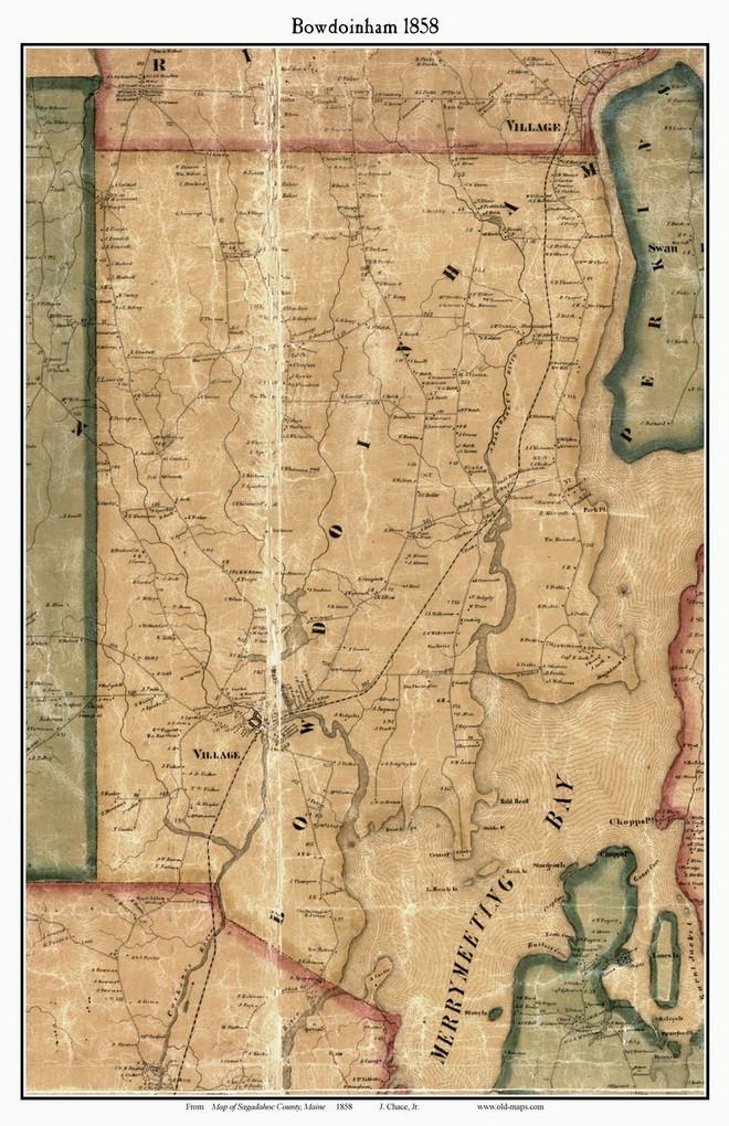 Bowdoinham, Maine 1858 Old Town Map Custom Print   Sagadahoc Co