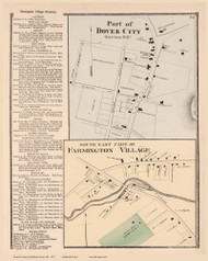 Parts of Farmington Village and Dover City, New Hampshire 1871 Old Town Map Reprint - Strafford Co.
