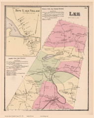 Lee Town and Bow Lake Village, New Hampshire 1871 Old Town Map Reprint - Strafford Co.