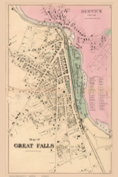 Great Falls Village - Somersworth, New Hampshire 1871 Old Town Map Reprint - Strafford Co.