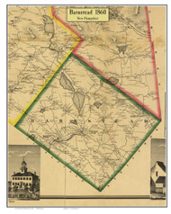 Barnstead, New Hampshire 1860 Old Town Map Custom Print - Belknap Co.