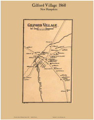 Gilford Village, New Hampshire 1860 Old Town Map Custom Print - Belknap Co.