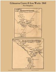 Gilmanton Center and Gilmanton Iron Works Villages, New Hampshire 1860 Old Town Map Custom Print - Belknap Co.