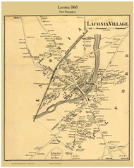Laconia Village, New Hampshire 1860 Old Town Map Custom Print - Belknap Co.