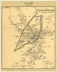 Laconia Village, New Hampshire 1860 Old Town Map Custom Print - Belknap Co.