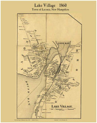 Lake Village, New Hampshire 1860 Old Town Map Custom Print - Belknap Co.