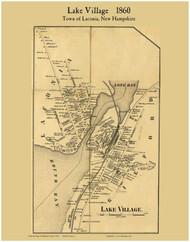 Lake Village, New Hampshire 1860 Old Town Map Custom Print - Belknap Co.