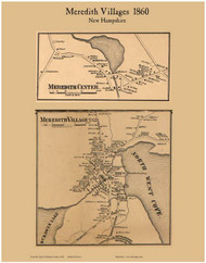 Meredith and Meredith Center Villages, New Hampshire 1860 Old Town Map Custom Print - Belknap Co.