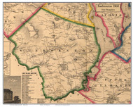 Sanbornton, New Hampshire 1860 Old Town Map Custom Print - Belknap Co.